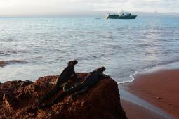 Una isla en color rojo en Galápagos (Rábida)