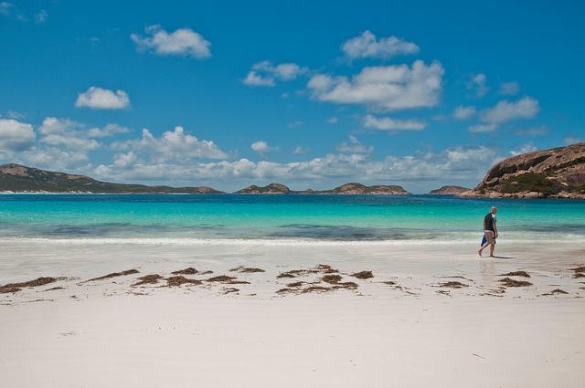Una playa de arena blanca, mar turquesa y canguros tomando sol (Cape Le Grand, en el sur de Australia)