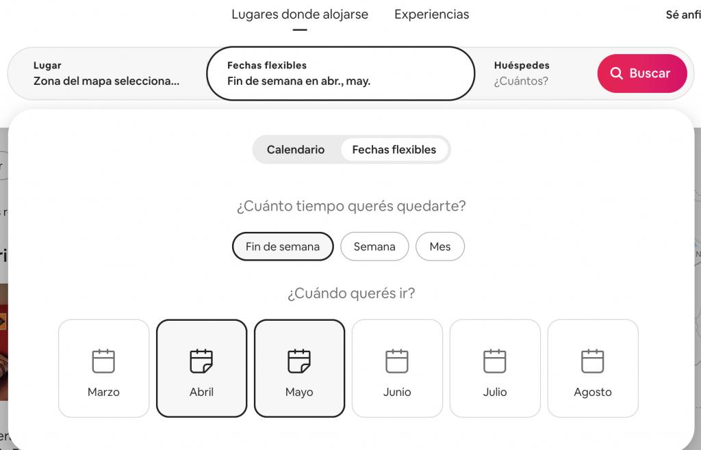Selecciona búsquedas flexibles para alojarse con Airbnb